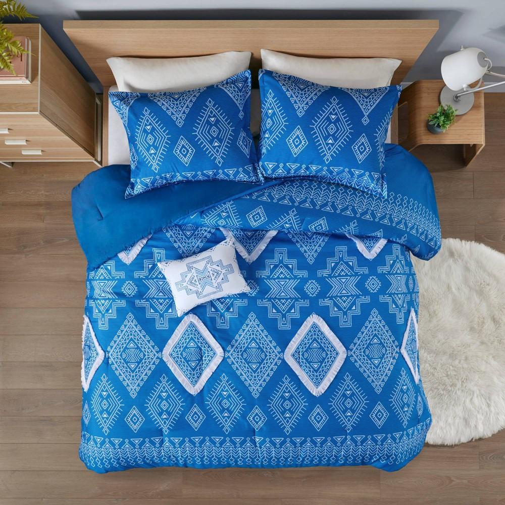 Twin Twin Xl Davina Printed Comforter Set With Fringe Trim Blue