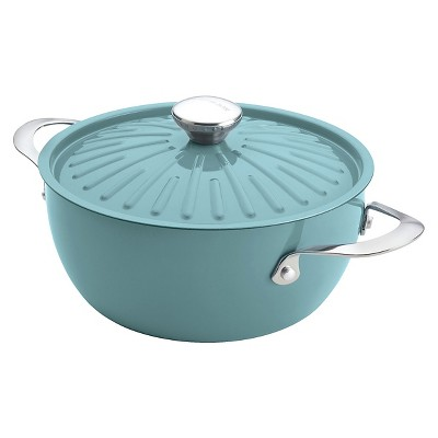 Rachael Ray Cucina Oven-To-Table Hard Enamel Nonstick 4-1/2-Quart Covered Round Casserole, Agave Blue