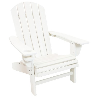 Sunnydaze Plastic All-Weather Outdoor Adirondack Chair with Drink Holder, White