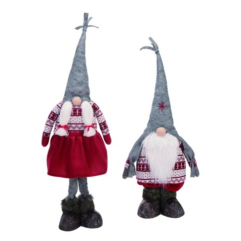Transpac Fabric 28 In Multicolor Christmas Plush Telescoping Gnome Set Of 2 Target