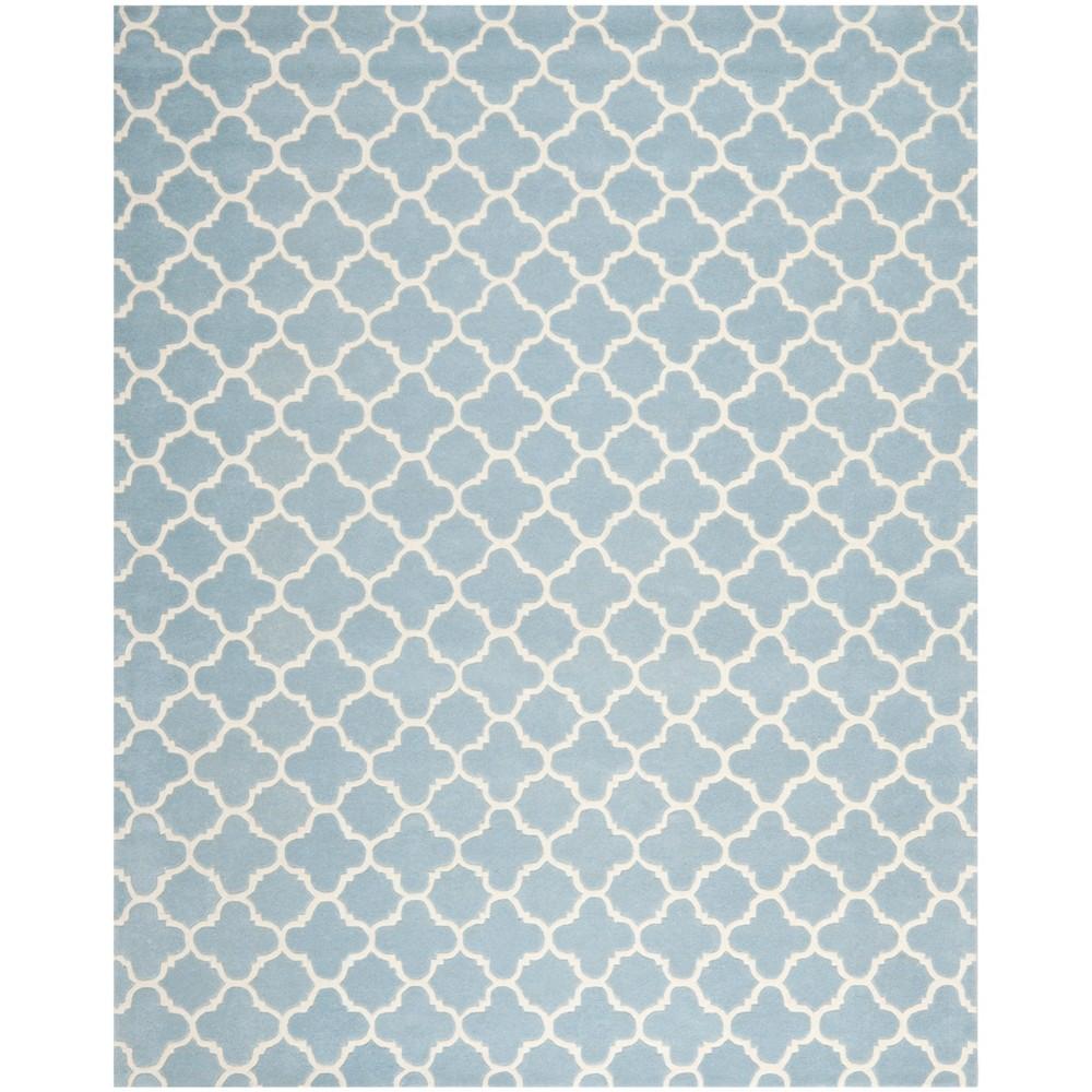 Tufted Quatrefoil Design Area Rug Blue