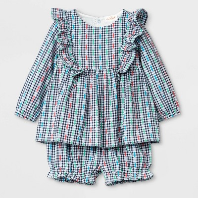 Baby Girls' Woven Bloomer Set - Cat & Jack™ Blue 6-9M