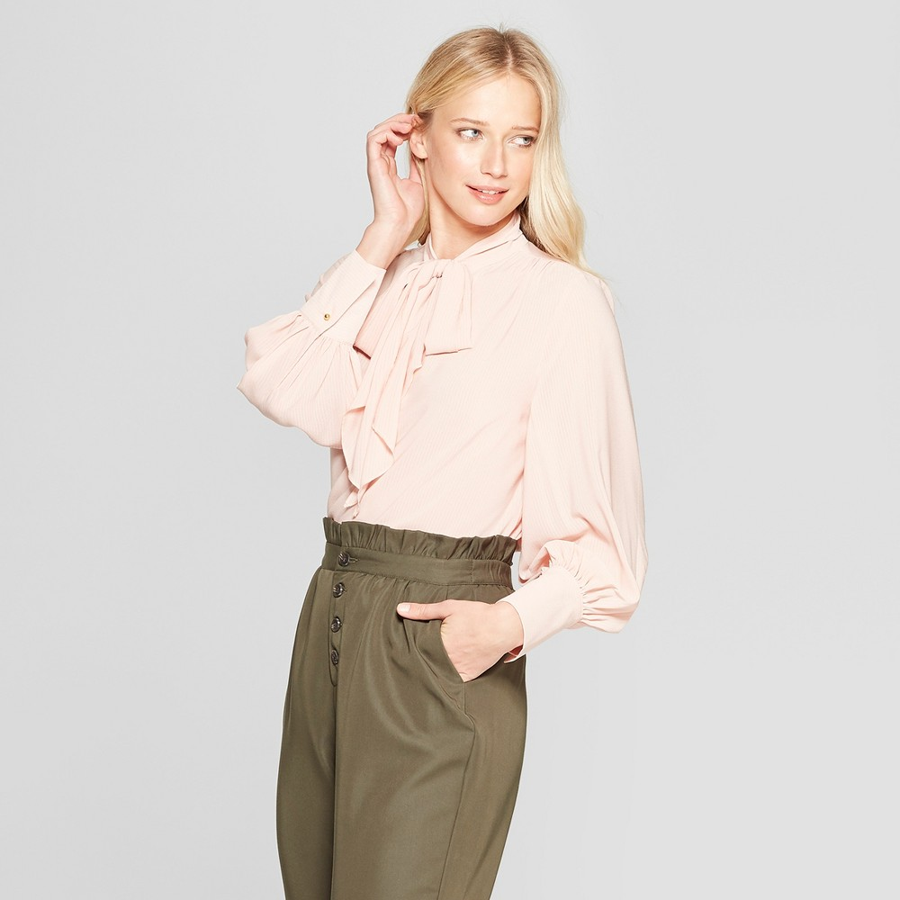 Women's Long Sleeve Tie Neck Drapey Blouse - Who What Wear Pink XL