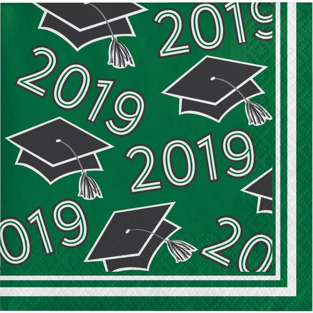 Image of 108ct Graduation School Spirit Disposable Beverage Napkins Green
