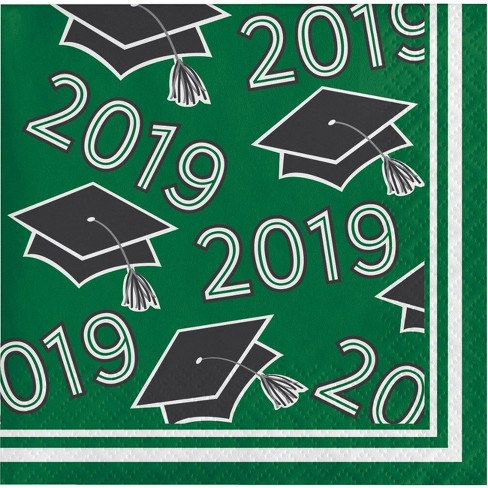 108ct Graduation School Spirit Disposable Beverage Napkins Green - image 1 of 1