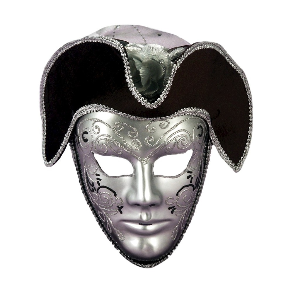 Image of Adult Venetian Mask with Headpiece Silver, Men's