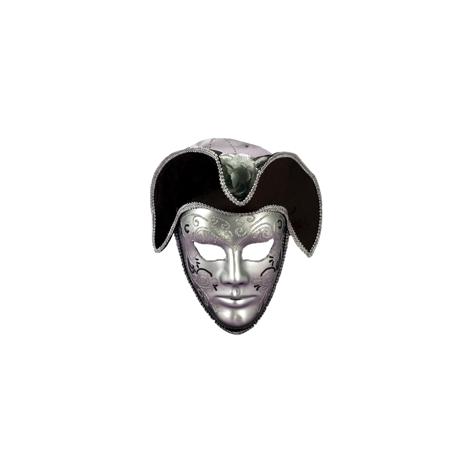 Adult Venetian Mask with Headpiece Silver, Men's