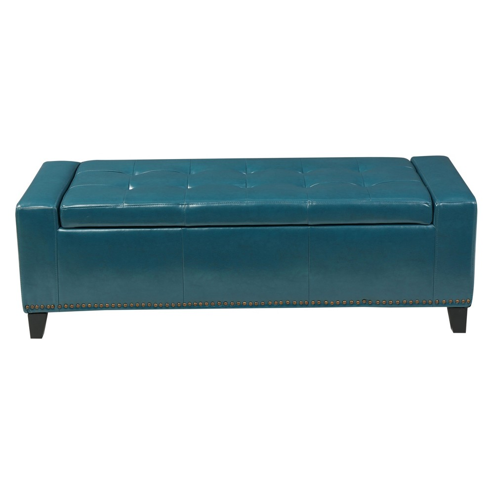 Chelsea Storage Ottoman With Studs - Teal (Blue) - Christopher Knight Home