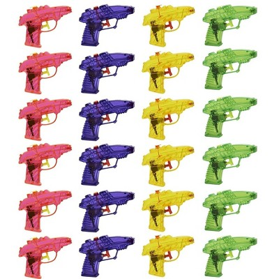 Blue Panda 24-Pack Mini Squirt Guns Water Pistol Plastic Toys Kids Party Favors, 4 Colors, Ages 3 and Up