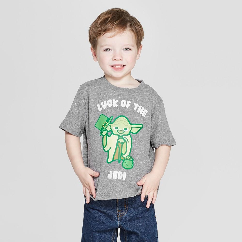 Toddler Boys' Star Wars Yoda Short Sleeve T-Shirt - Gray 2T