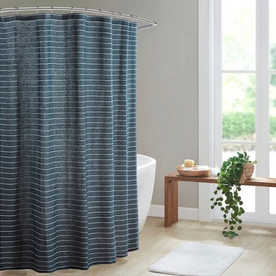 Oren Texture Striped 100% Recycled Fiber Antimicrobial Woven Shower Curtain Navy - Clean Spaces
