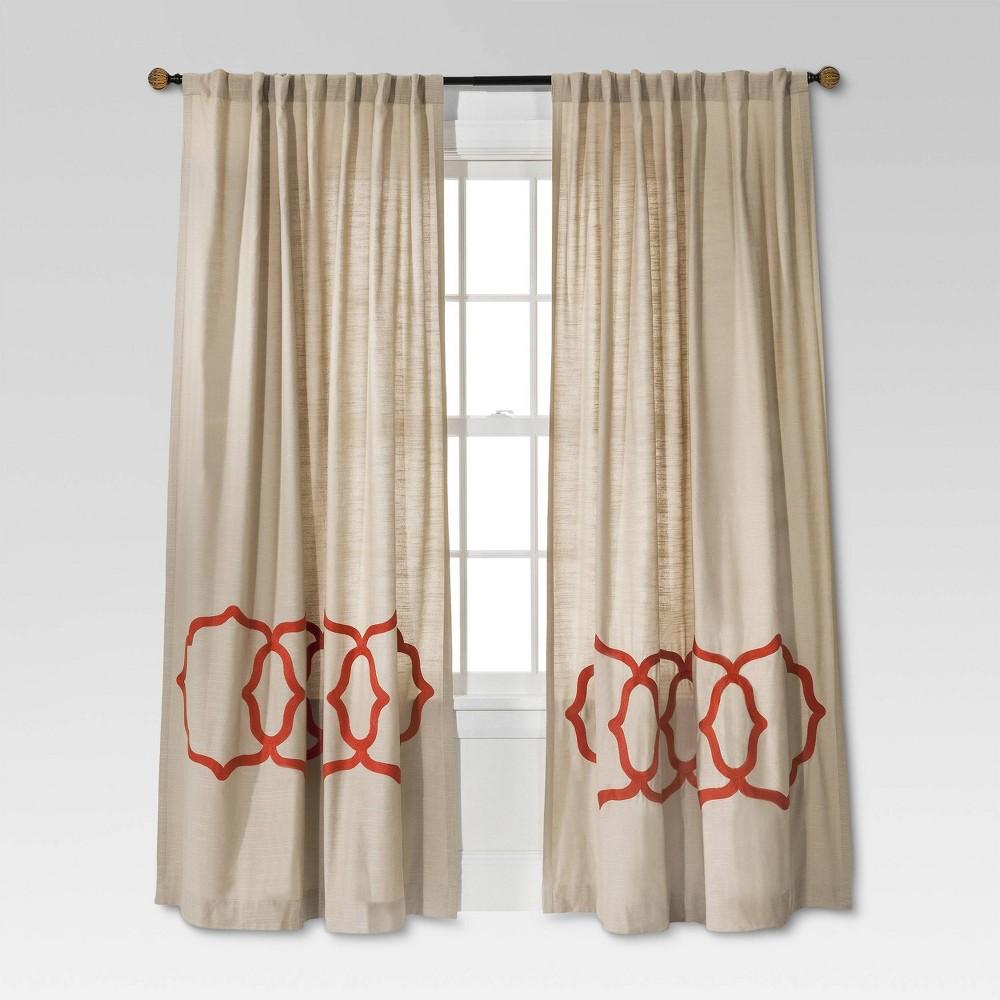 Fretwork Border Curtain Panel Tan Coral 54 X95 Threshold 8482