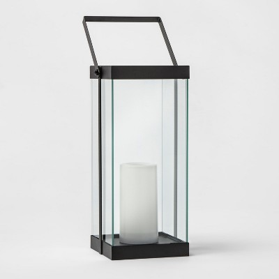 14  Metal Glass Outdoor Lantern Battery Operated - Black - Project 62™