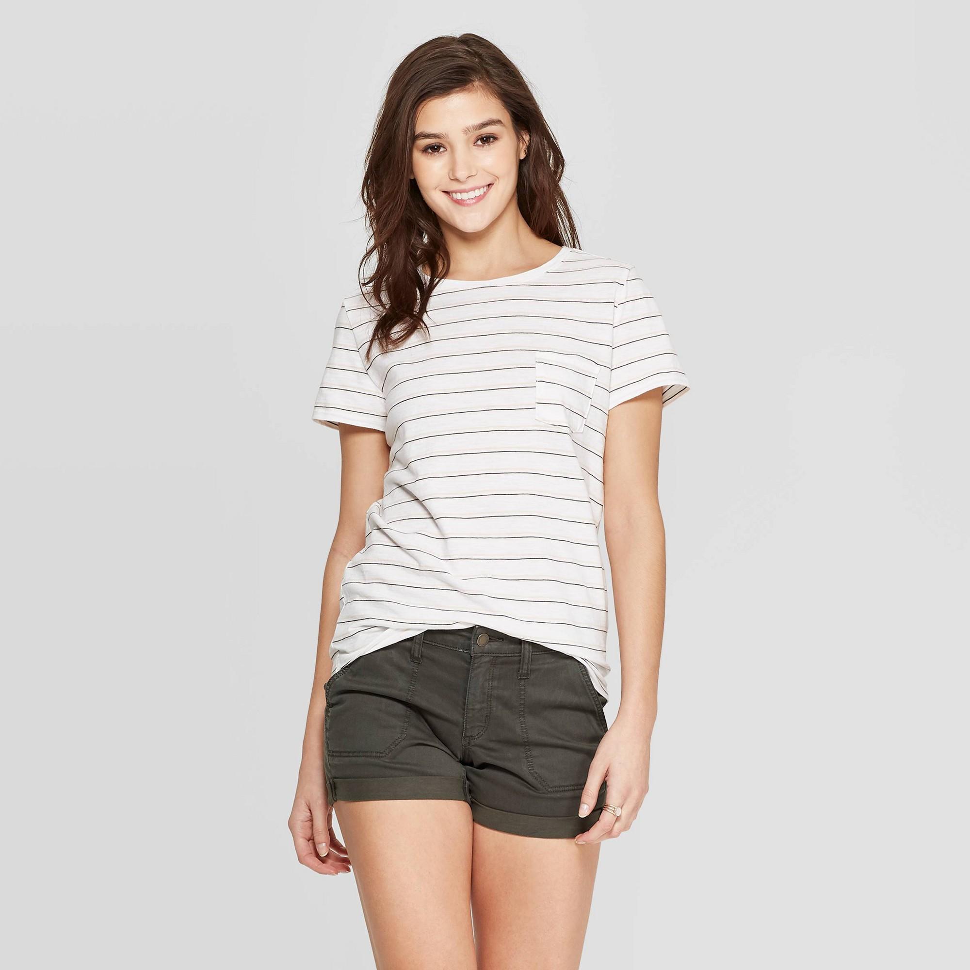Women's Striped Crewneck Relaxed Fit Short Sleeve T-Shirt - Universal Thread White XL, Beige