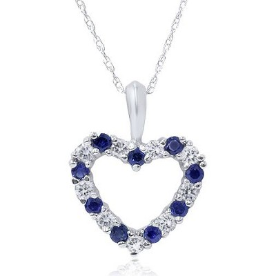 Pompeii3 1/2ct Blue Sapphire & Diamond Heart Pendant 14 Karat White Gold