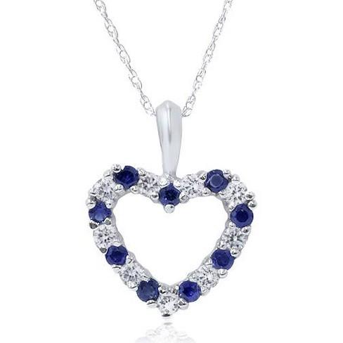 Pompeii3 1/2ct Blue Sapphire & Diamond Heart Pendant 14 Karat White Gold - image 1 of 2