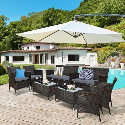 Costway 8PCS Rattan Patio Furniture Set Cushioned Sofa Chair Coffee Table Red\Brown\Turquoise