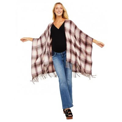 Jessica Simpson Maternity Plaid Regular Fit Sleeveless Open Cardigan - Beige One Size Fits Most