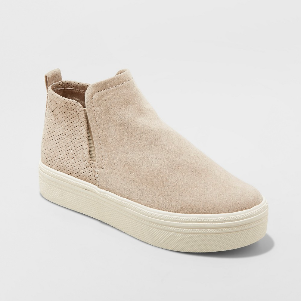 Women's Liz Microsuede High Top Sneakers - Universal Thread Taupe (Brown) 7.5