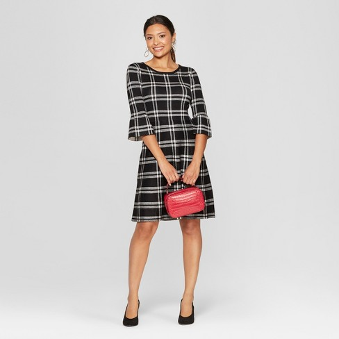 6dc8110645f Women s Plaid Bell Sleeve Sweater Dress - Spenser Jeremy - Black White