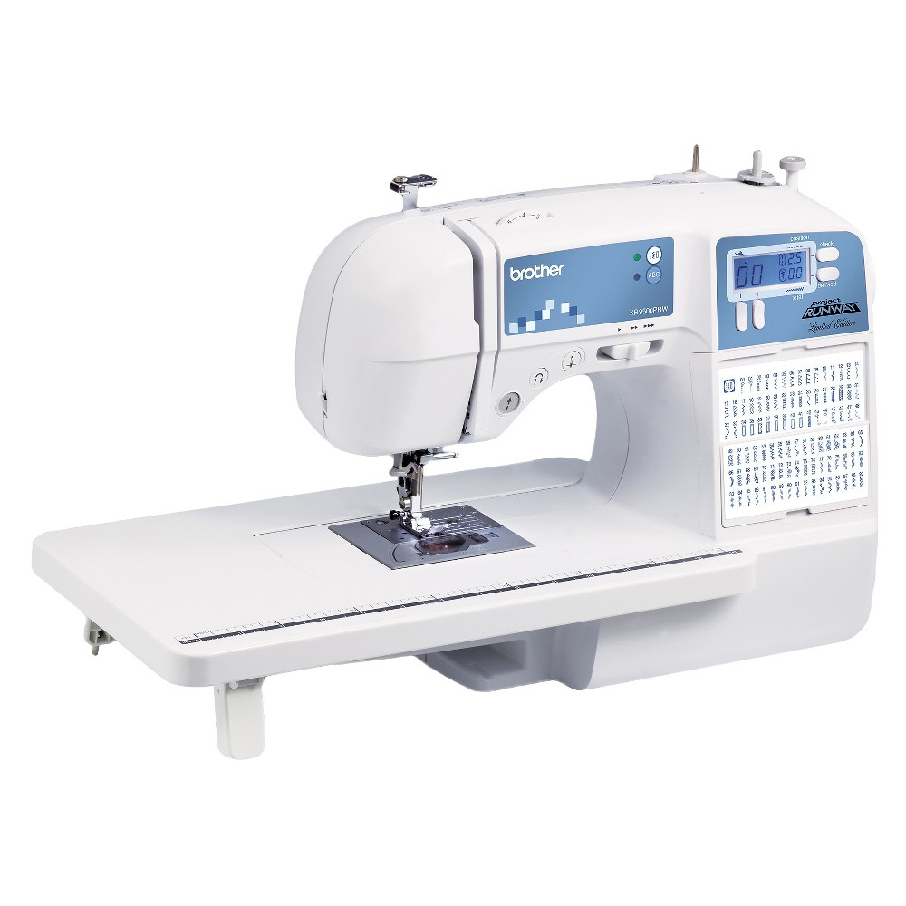 Brother International XR9500PRW Sewing Machine, White The Brother XR9500PRW has 100 sewing and 55 alphanumeric stitches designed for both sewing and quilting. Become a master seamstress with the XR9500PRW Project Runway Limited Edition sewing machine from Brother International. With 100 built-in utility, decorative and heirloom stitches, it allows you to embellish just about anything. Equipped with a large backlit Led screen, it provides computerized stitch selection and a unique flip-stitch guide. This hardworking sewing machine offers 55 alphanumeric stitches, eight one-step buttonholes, an oversized wide table and more. Color: White.