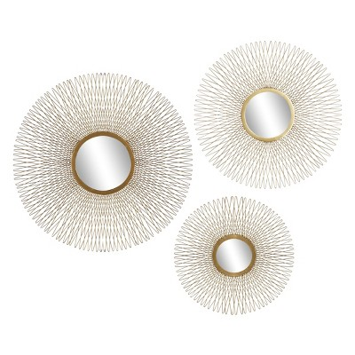 Set of 3 Modern Tin and Glass Round Wire Sunburst Wall Mirrors Gold - Olivia & May