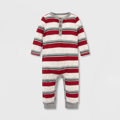 Burt's Bees Baby® Baby Boys' Organic Cotton Foothills Striped Henley Jumpsuit - Pink 3M