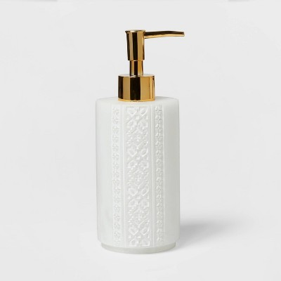 Carved Alabaster Resin Soap Pump White - Threshold™