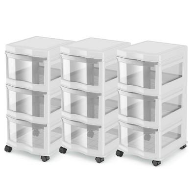 Life Story Classic 3 Shelf Storage Organizer Plastic Drawers, White (3 Pack)