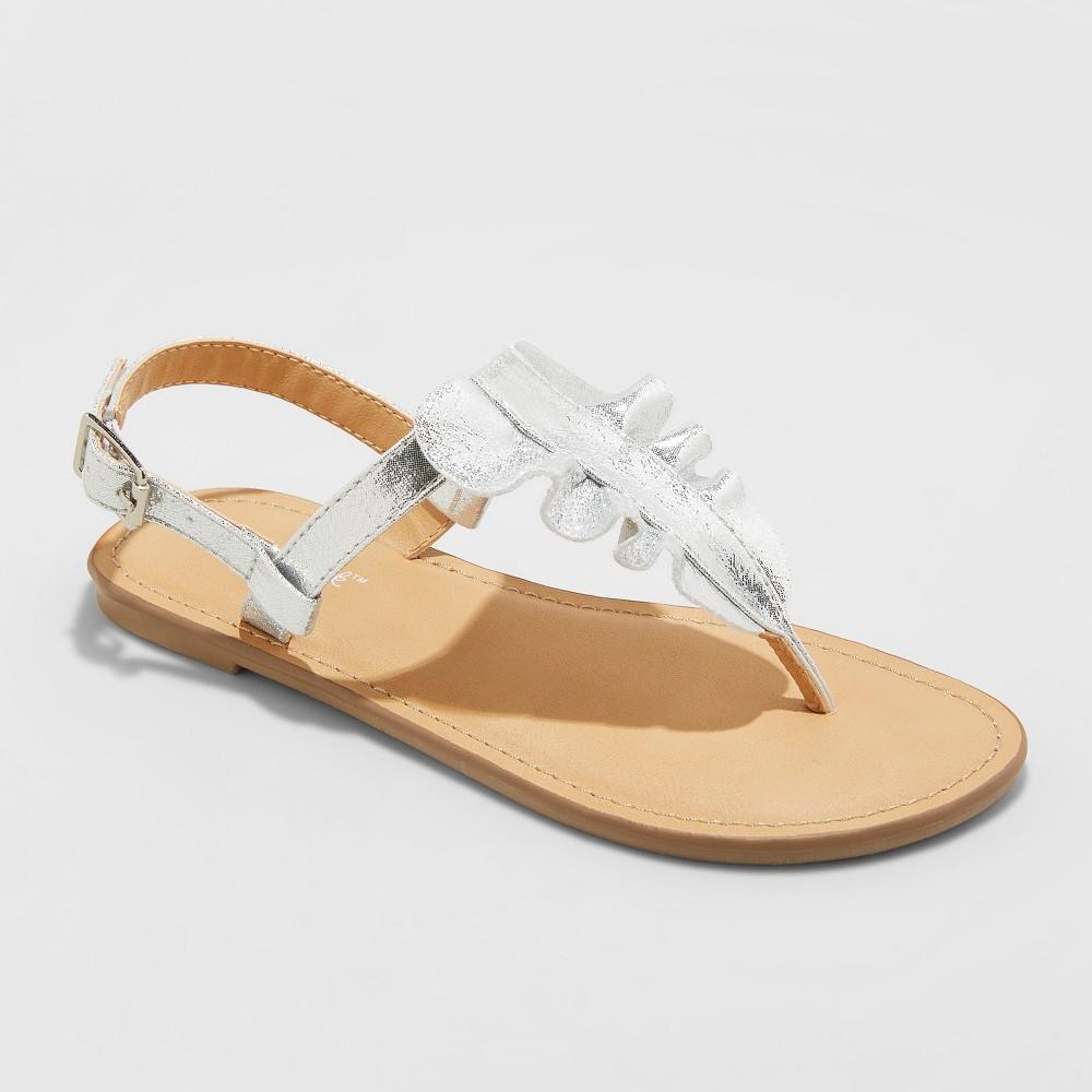 Image of Girls' Naomi Ruffle Thong Sandals - Cat & Jack Silver 2, Girl's