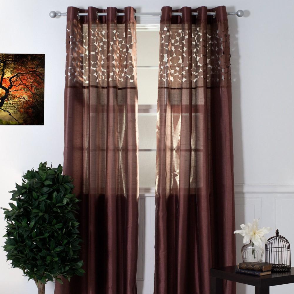 Yorkshire Home Karla Laser Cut Grommet Curtain Panel - Chocolate (Brown) (108)