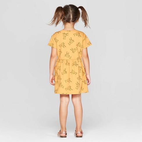 110e951d6ea Toddler Girls  Short Sleeve  Cheetah  T-Shirt Dress - Art Class™ Gold    Target
