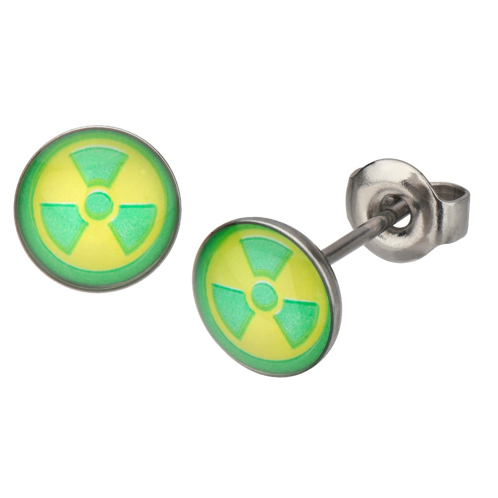 Marvel Hulk Green Radioactive Logo Stainless Steel Stud Earrings, Kids Unisex