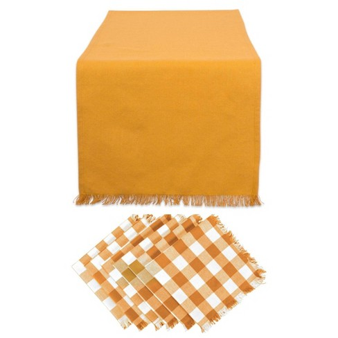 Heavyweight Fringed Table Set Pumpkin Spice - Design Imports - image 1 of 4