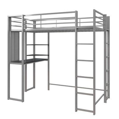 Twin Adele Loft Bed with Desk Silver - Room & Joy