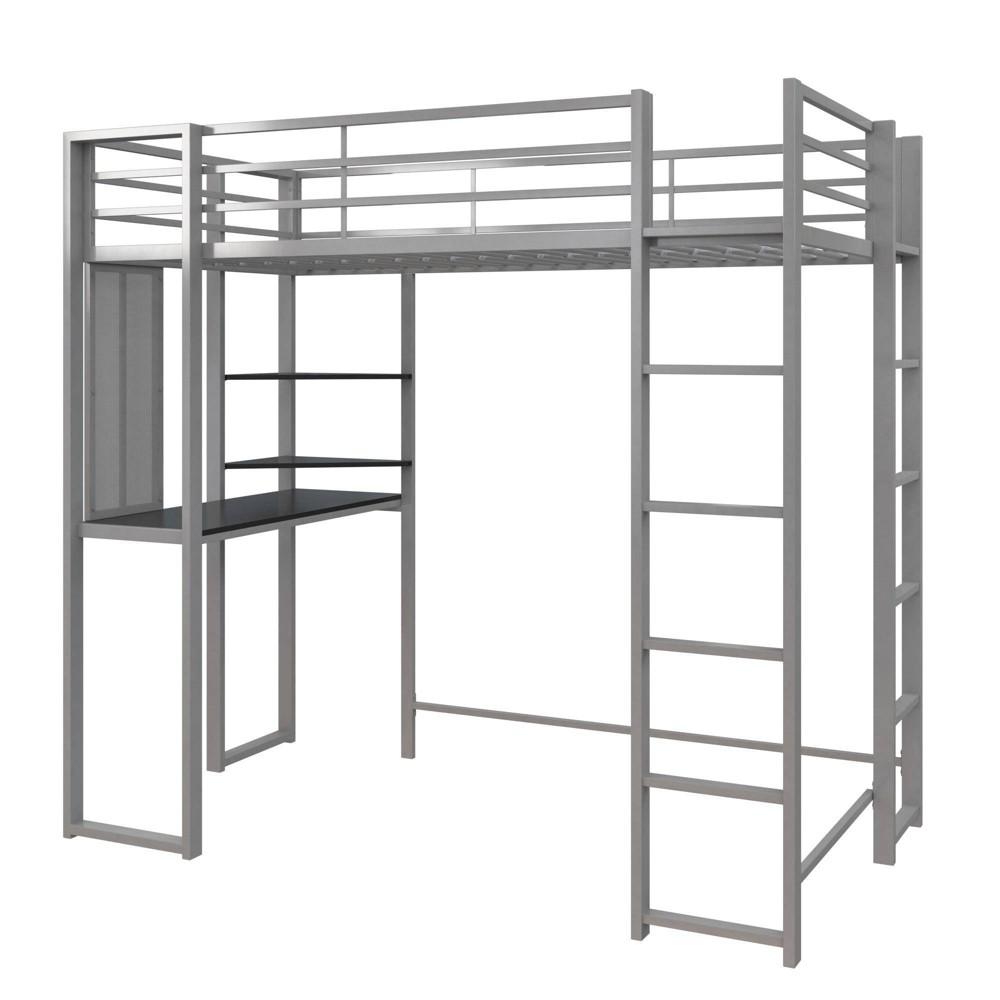 Twin Adele Loft Bed With Desk Silver Room 38 Joy