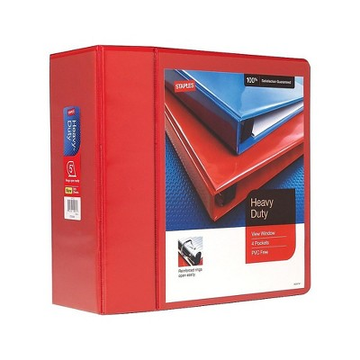 """Staples Heavy Duty 5"""" 3-Ring View Binder Red (24702) 82658"""