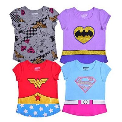 Warner Bros Girls 4-Pack Batgirl, Wonder Woman and Super Girl Short Sleeve Superhero Tees for Kids