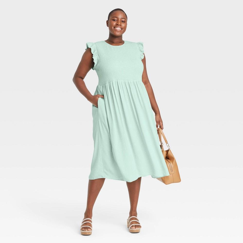 Women 39 S Plus Size Polka Dot Sleeveless Smocked Dress A New Day 8482 Green 2x