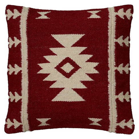 """18""""x18"""" Southwestern Striped Square Throw Pillow Red/Ivory - Rizzy Home - image 1 of 4"""