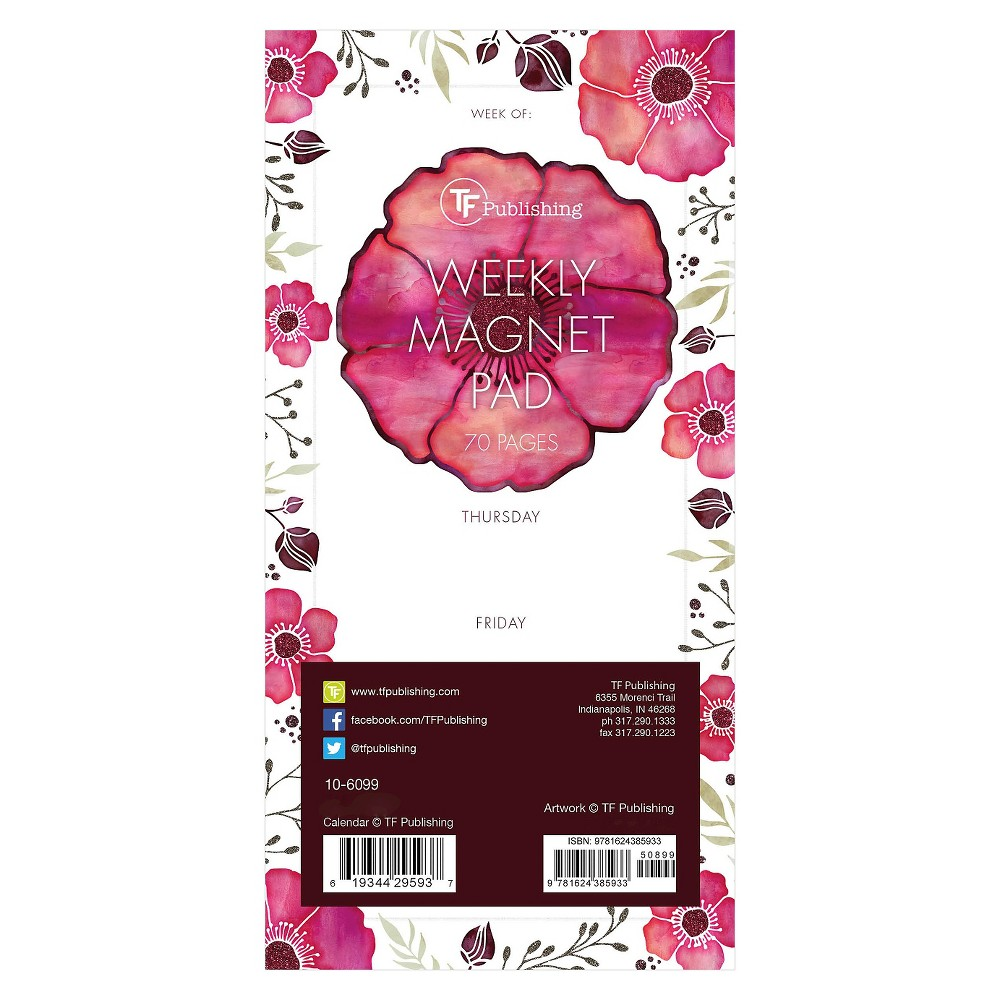 TF Publishing Poppies Magnetic List Pad, 70 Pgs, (8  x 4 ), Multi-Colored Add floral touch to your home décor with the TF Publishing Poppies Magnetic List Pad. Keep track of all your  things to do  with this unlined pad! Jot down your weekly schedule or daily to-dos, then tear it off and start anew. The magnetic pad is perfect for filing cabinets, refrigerators or any other magnetic surface. The pad has 70 tear-off sheets for you to track all your appointments and to dos. Color: Multi-Colored.