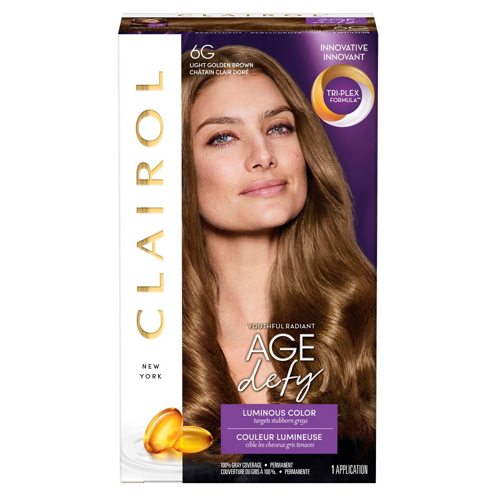 Image of Clairol Age Defy Permanent Hair Color - 6G Light Golden Brown - 1 kit