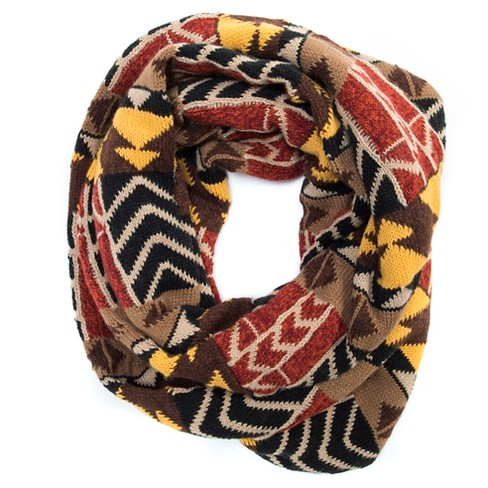 Women's Colorblock Geo Knit Eternity Scarf - Brown - image 1 of 1