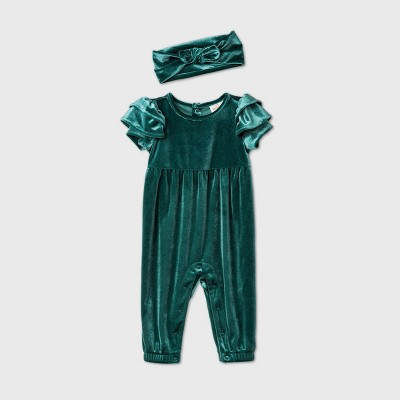 Baby Girls' Velour Ruffle Short Sleeve Romper - Cat & Jack™ Green Newborn