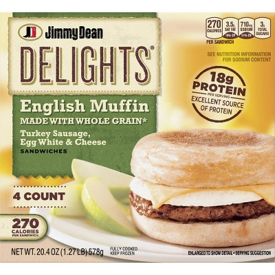 Jimmy Dean Delights Turkey Sausage, Egg Whites, & Cheese Frozen English Muffin - 4ct