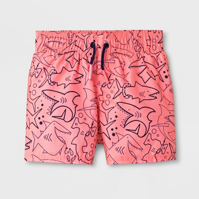 Baby Boys' Shark Swim Trunks - Cat & Jack™ Coral 9M