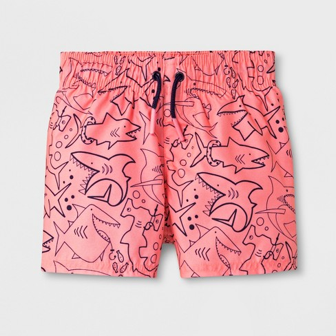 Baby Boys' Shark Swim Trunks - Cat & Jack™ Coral - image 1 of 1
