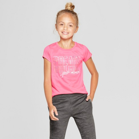 13222ea5b90f Girls  Create Your Moment Graphic Tech T-Shirt - C9 Champion® Pink ...