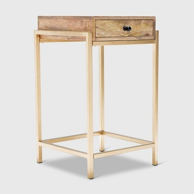 Sidney Modern Living Room Accent Table Beige/Gold - Adore Decor