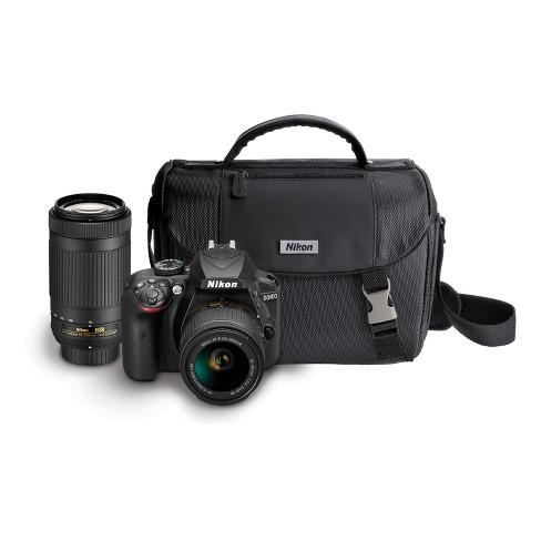 Nikon D3400 D-SLR 2-Lens Kit 24.2MP with Bag - Black (13537) - image 1 of 4